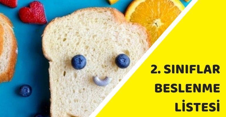 2. Sınıf Beslenme Listesi Örneği