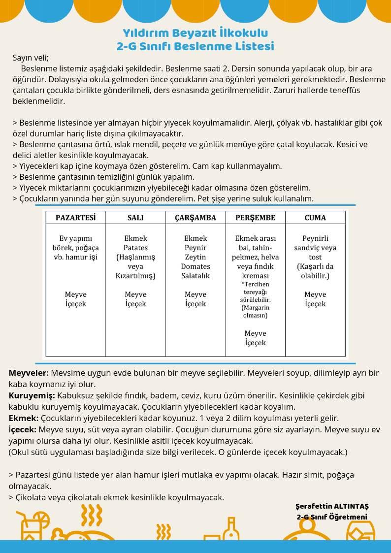 2. Sınıflar İçin Beslenme Listesi Örneği